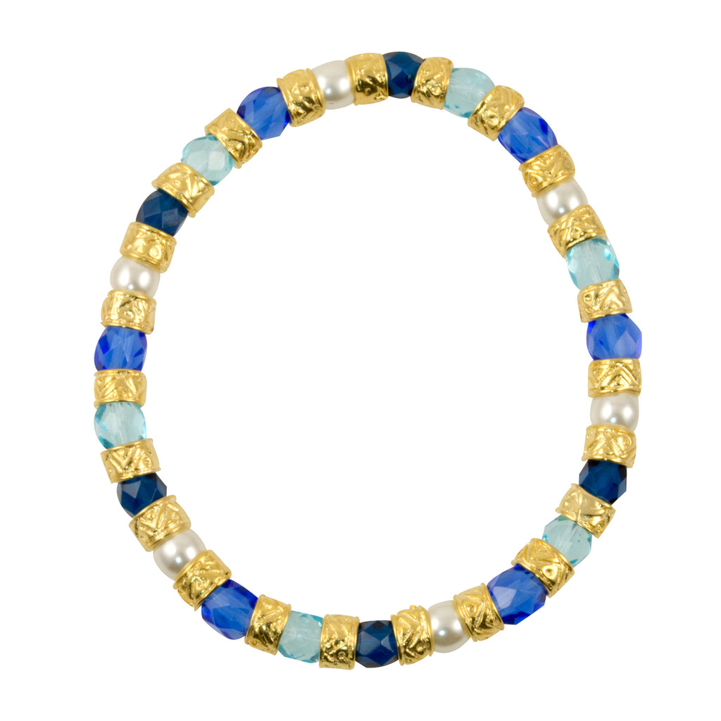 "Murano di Susanne ""Linda"" 22k Gold Plated Multi-Color Glass Bead Stretch Bracelet, Adjustable"