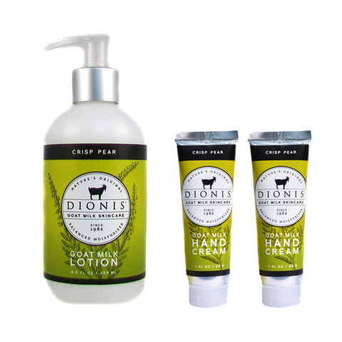 Dionis Goat Milk Body Lotion and Hand Cream 3 Piece Gift Set - Crisp Pear