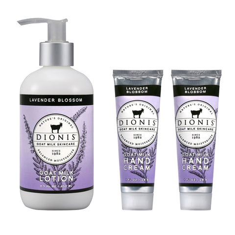 Dionis Goat Milk Body Lotion and Hand Cream 3 Piece Gift Set - Lavender Blossom