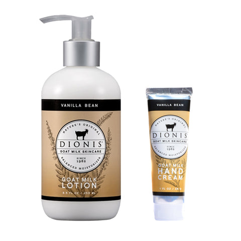 Dionis Goat Milk Body Lotion and Hand Cream 2 Piece Gift Set - Vanilla Bean