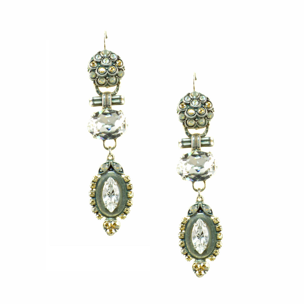 "Mariana ""Champagne and Caviar"" Antique Silver Plated Swarovski Crystal Chandelier Dangle Earrings"