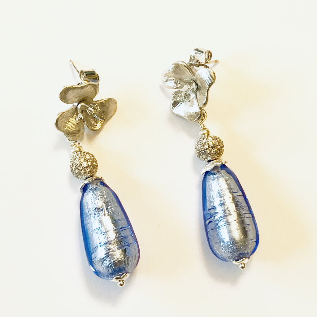 Genuine Venetian Teardrop Murano Flower Post Earring