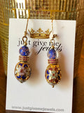 Just Give Me Jewels Genuine Venice Murano with Gold Plated Multi-Color Oval Shaped Cloisonne Dangle Earrings