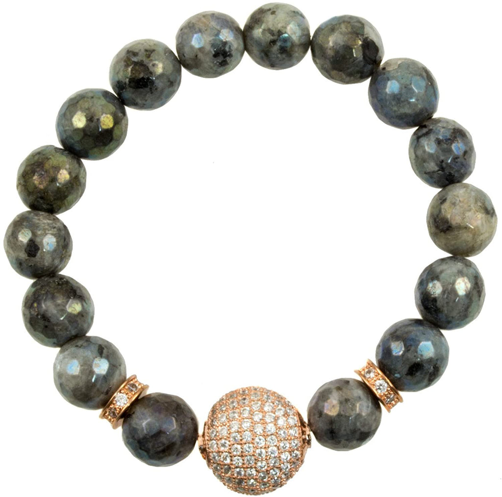 Just Give Me Jewels Labradorite Faceted Beads and Rose-Gold-Plated Pave Cubic Zirconia Bead Accents - Stretch Bracelet