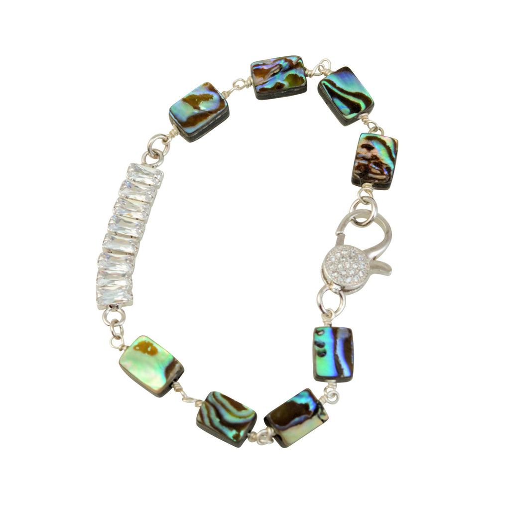 Just Give Me Jewels Silver Plated Natural Abalone Nuggets CZ Crystal Bracelet