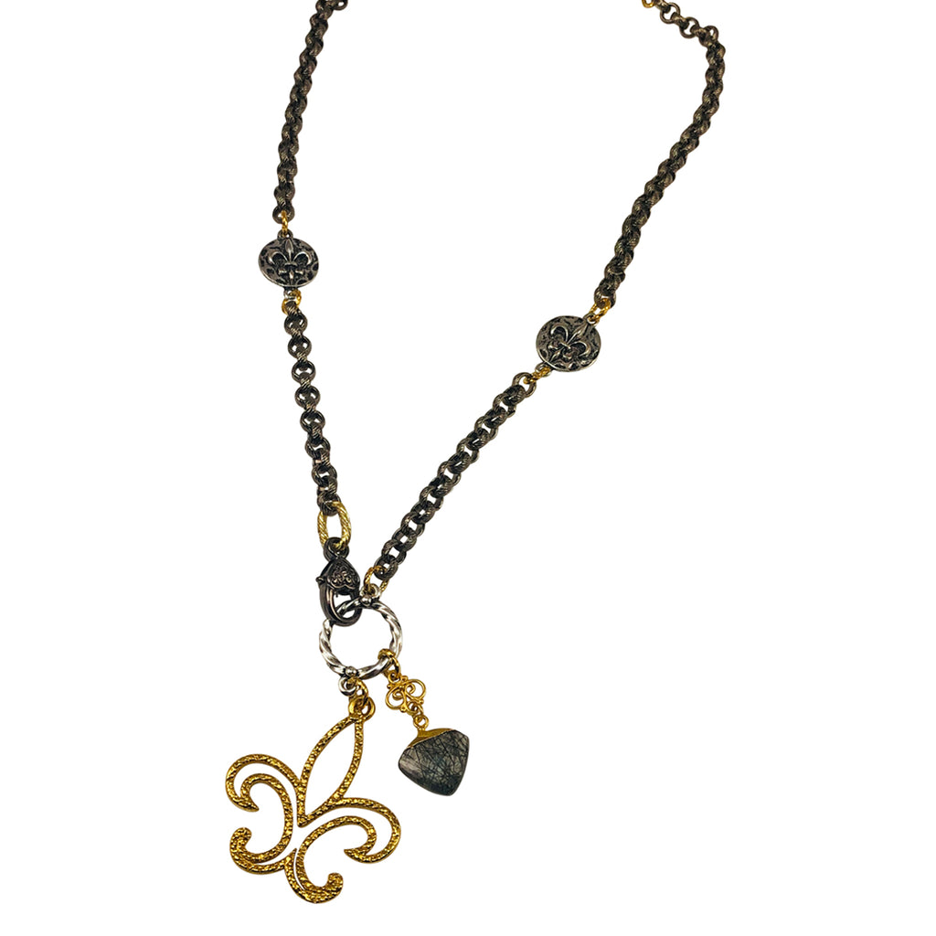 Mixed Metal Necklace with Gold Plated Large Fleur-de-lis Charm and a Rutillated Quartz Drop