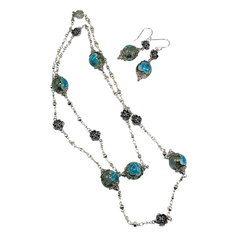 Just Give Me Jewels Silver Plated Japanese Tensha Blue Roses Bead Station Necklace with Flowers and Matching Earrings Set - 32 Inch