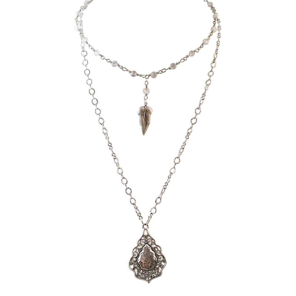 Just Give Me Jewels Sterling Silver Pear Shaped And Leaf Filigree Double Layered Cable Crystal Chain Necklace Set