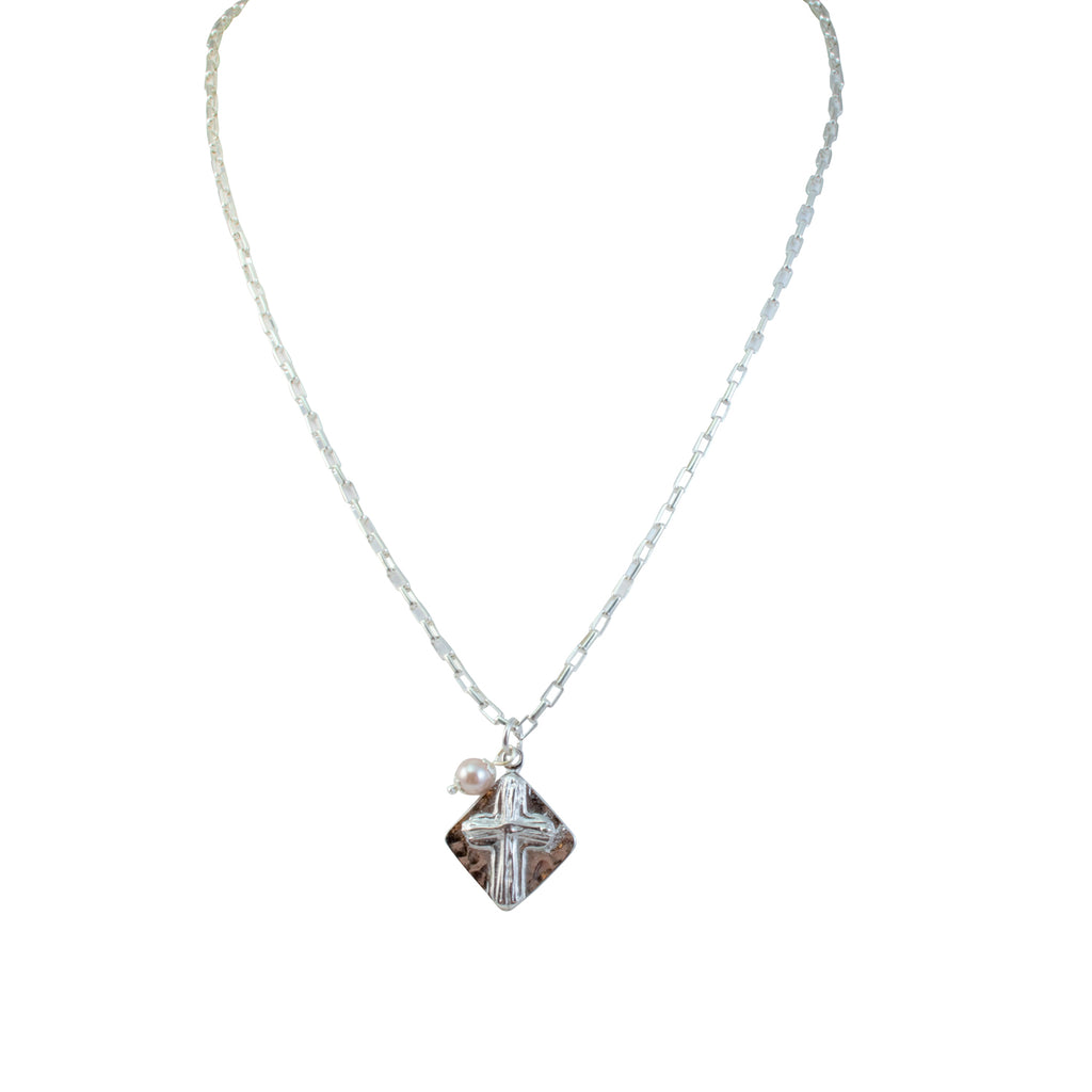 Just Give Me Jewels Rectangular Silver Chain Cross Pendant Necklace