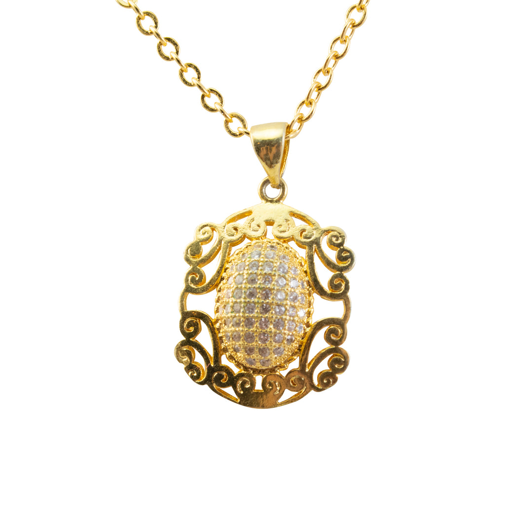 Just Give Me Jewels Decorative Gold Micro-Pave Chain Necklace