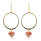 Marbled Red And Gold Foil Venetian Heart Glass Hoop Earrings