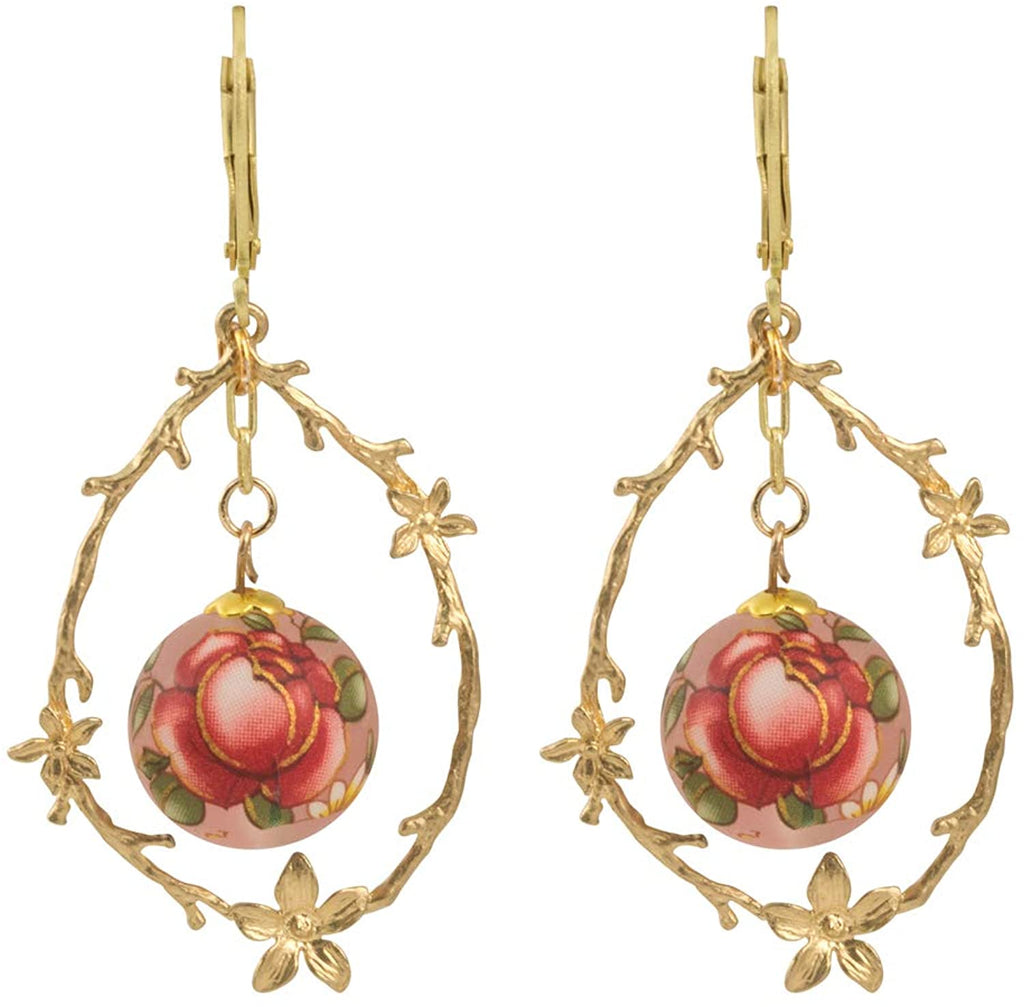 Japanese Tensha Flower Vine Teardrop Hoop Earrings