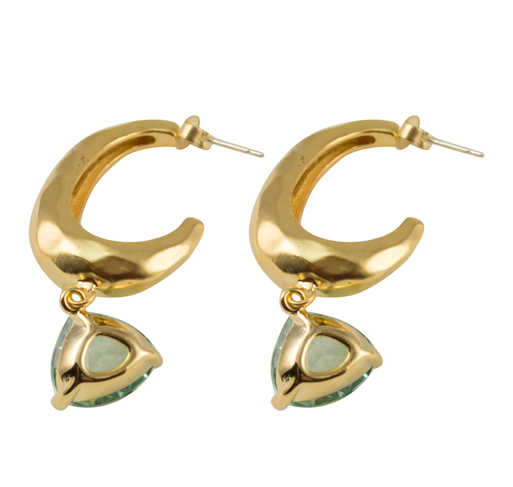 Matte Gold Plated Half Hoop Dangle Post Earrings With Pear Shaped Glass Charm