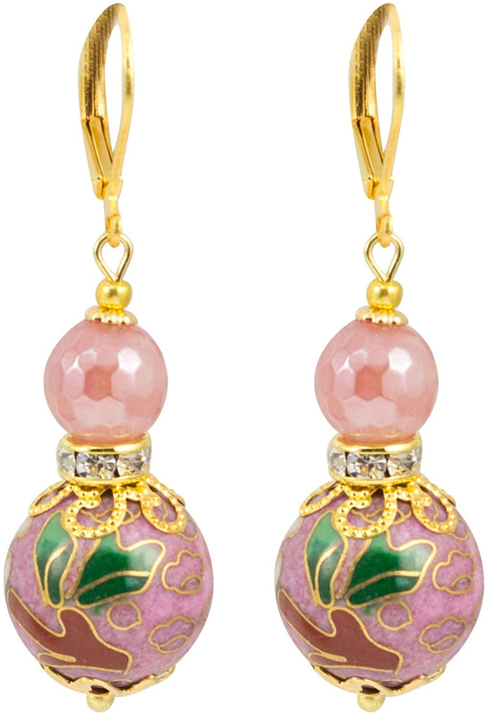 Pink Japanese Tensha Floral Bead And Crystal Earrings