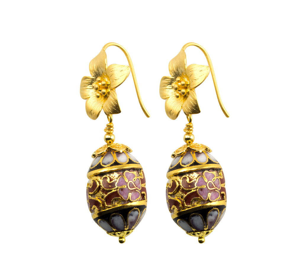 Beautiful Gold Plated Flower Earrings With Genuine Cloisonne Oval Bead