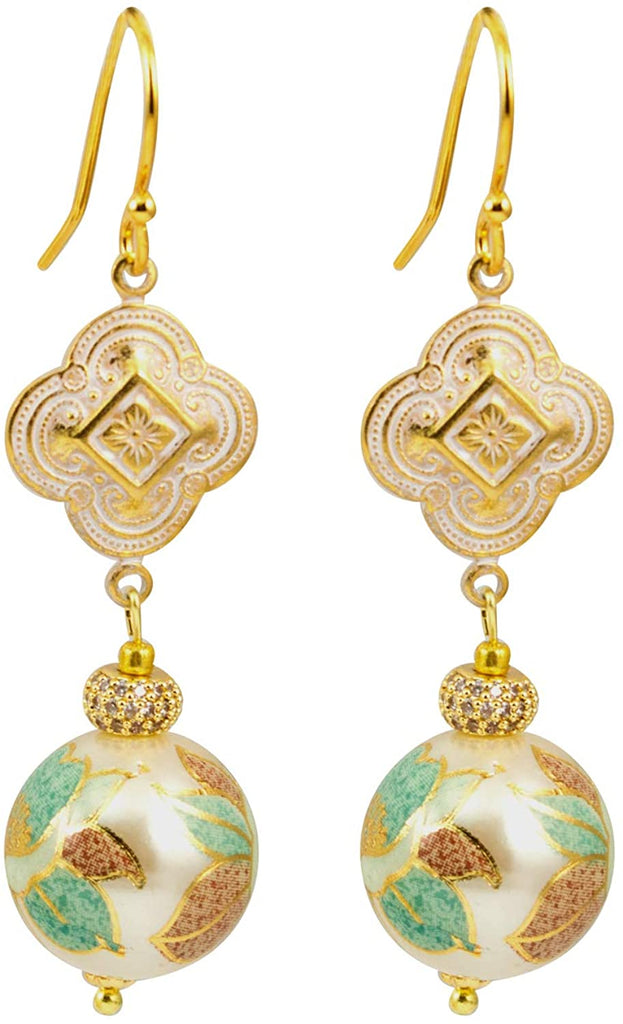 Gold Plated Tensha Dangle Earrings With Clover Medallion Connector