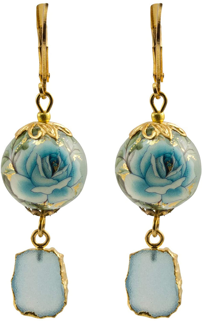 Tensha Floral Gold Leaf Druzy Pendant Dangle Earrings - Baby Blue