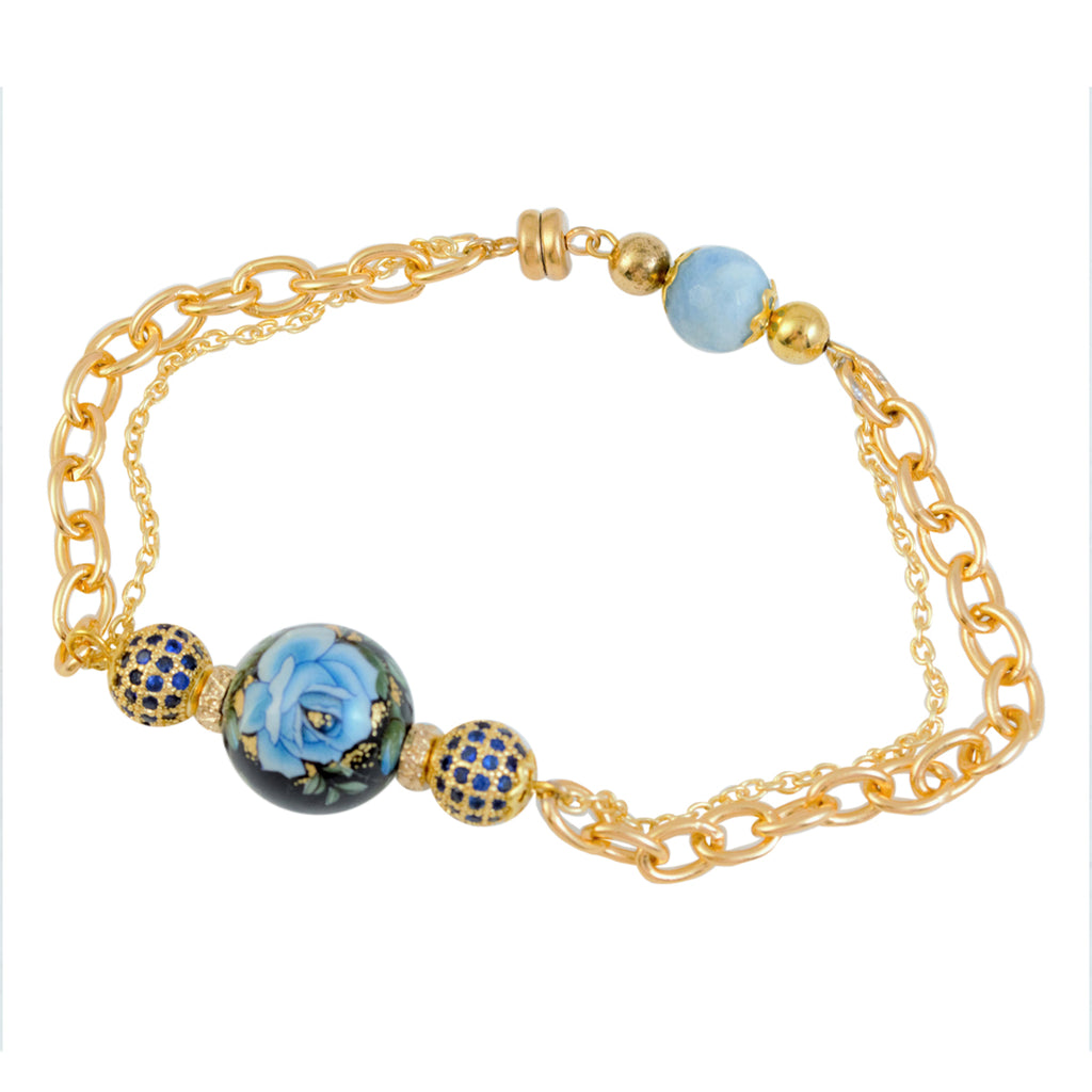 Beautiful Japanese Tensha Bead and Pave' Aqua Colored Bead Magnetic Bracelet - 7.5""