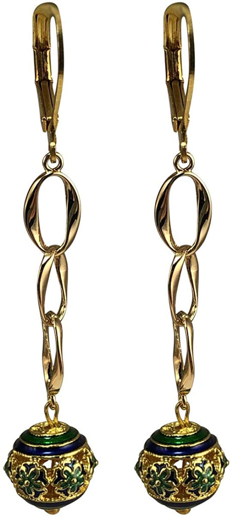 Gold Plated Interlocking Circle Cloisonne Bead Dangle Earrings