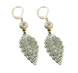 Just Give Me Jewels Two Tone Silver Plated Decorative Leaf Dangle Earrings