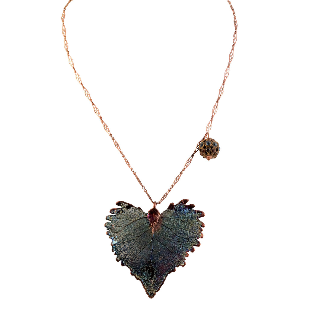 Just Give Me Jewels Long Copper Plated Necklace with Large Skeletonized Birch Leaf Coated with Copper and Blue
