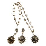 Just Give Me Jewels Silver Plated Imitation Pearl Flower Pendant Necklace and Matching Earrings Set - 23 Inch