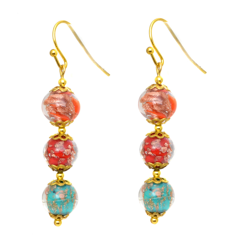 Genuine Venice Murano Sommerso Aventurina Glass Bead Dangle Three Bead Earrings-Multi Color