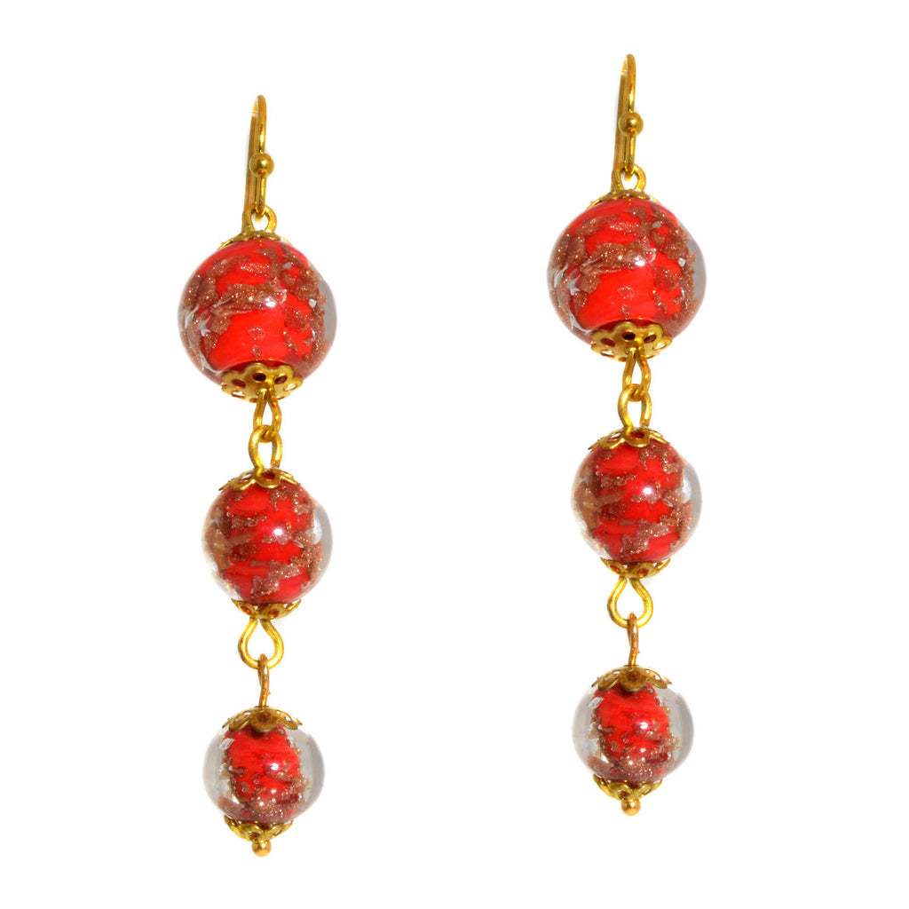 Genuine Venice Murano Sommerso Aventurina Triple Graduated Glass Bead Dangle Earrings - Red