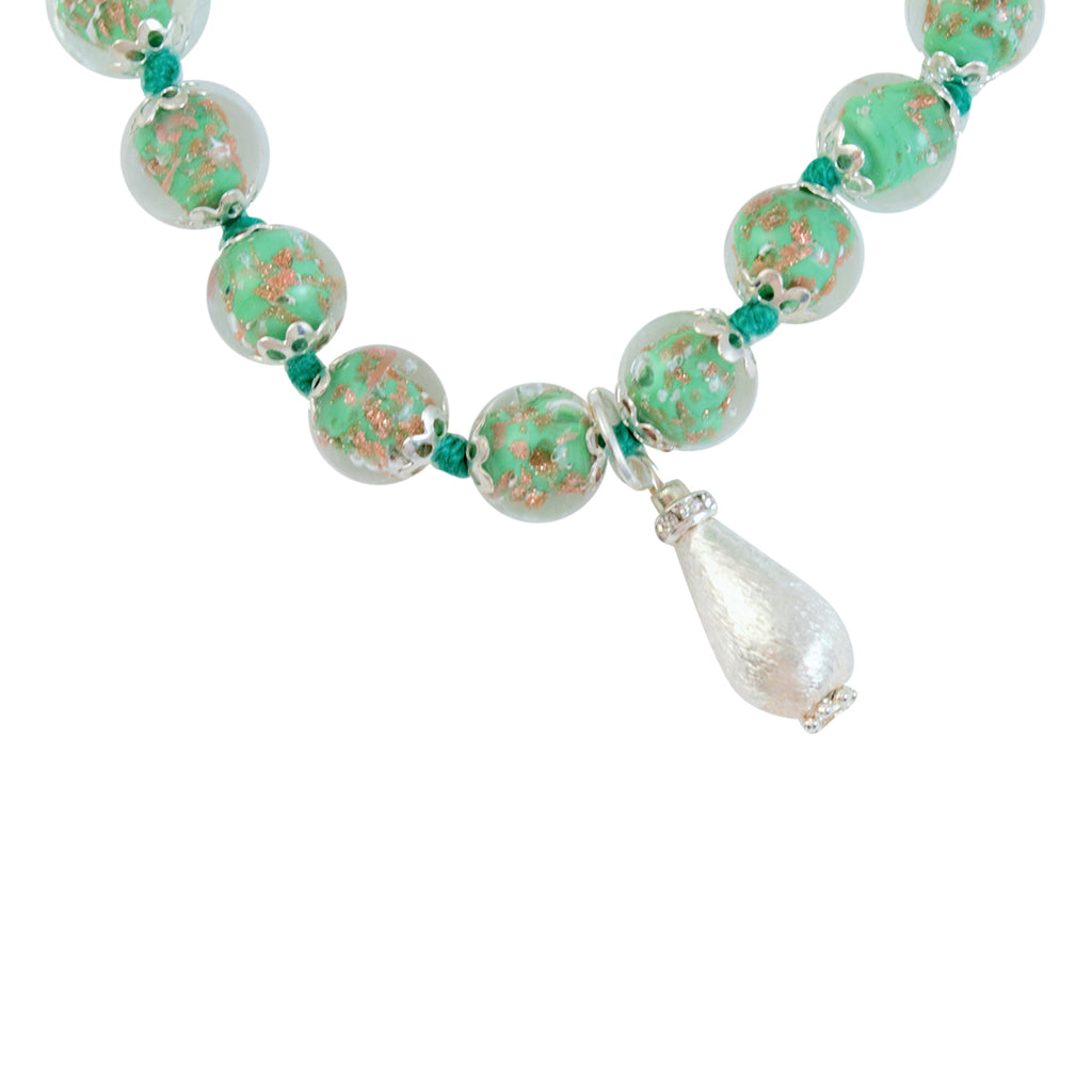 Genuine Venice Murano Sommerso Aventurina Glass Bead Strand Bracelet with Silver Plated Teardrop