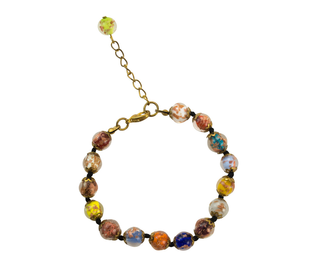 Genuine Venice Murano Sommerso Aventurina Glass Bead Bracelet and Earrings Set, Multi-Color