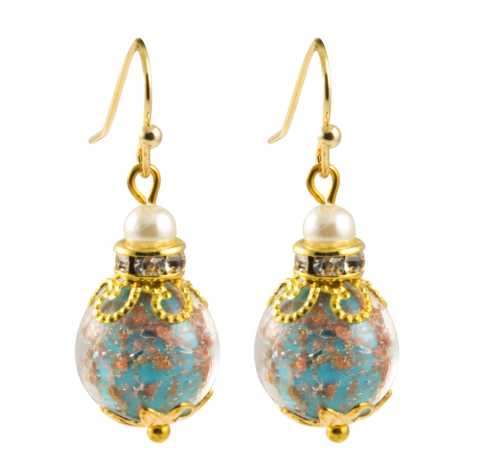 Just Give Me Jewels Venice Gold Plated Murano Sommerso Aventurina Glass Bead and Rhinestone Dangle Earrings in Aqua