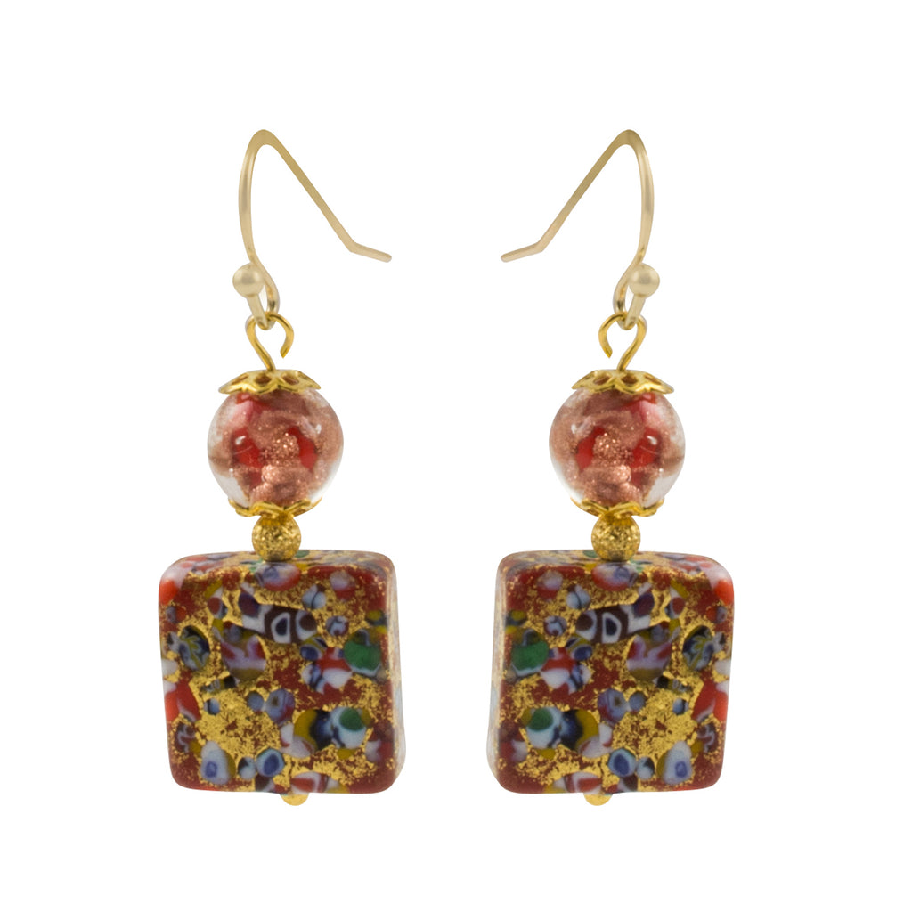 Just Give Me Jewels Red and Gold Swirl Venice Murano Glass Square Bead Dangle Earrings