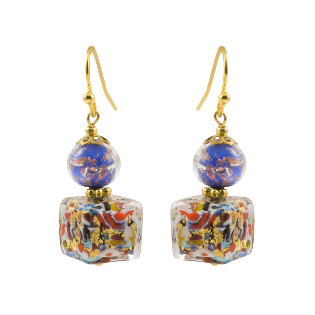 Just Give Me Jewels Genuine Venice Murano Klimt Glass Cube Dangle Earrings - Multicolor Blue