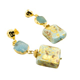 Just Give Me Jewels Genuine Venice Murano Glass Square with Druzy Dangle Earrings - Turquoise