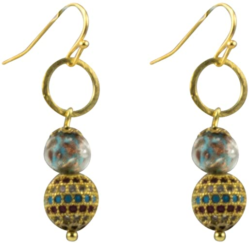 Genuine Venice Murano Sommerso Aventurina Blue Glass Bead Dangle Earrings with Gold Plated Circles and Multi-colored pave bead