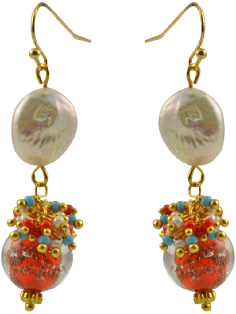 Just Give Me Jewels Genuine Venice Murano Sommerso Aventurina Glass Bead and Freshwater Cultured Coin Pearl Dangle Earrings