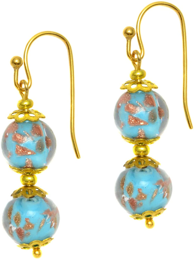 Genuine Venice Murano Sommerso Aventurina Glass Bead Dangle Earrings