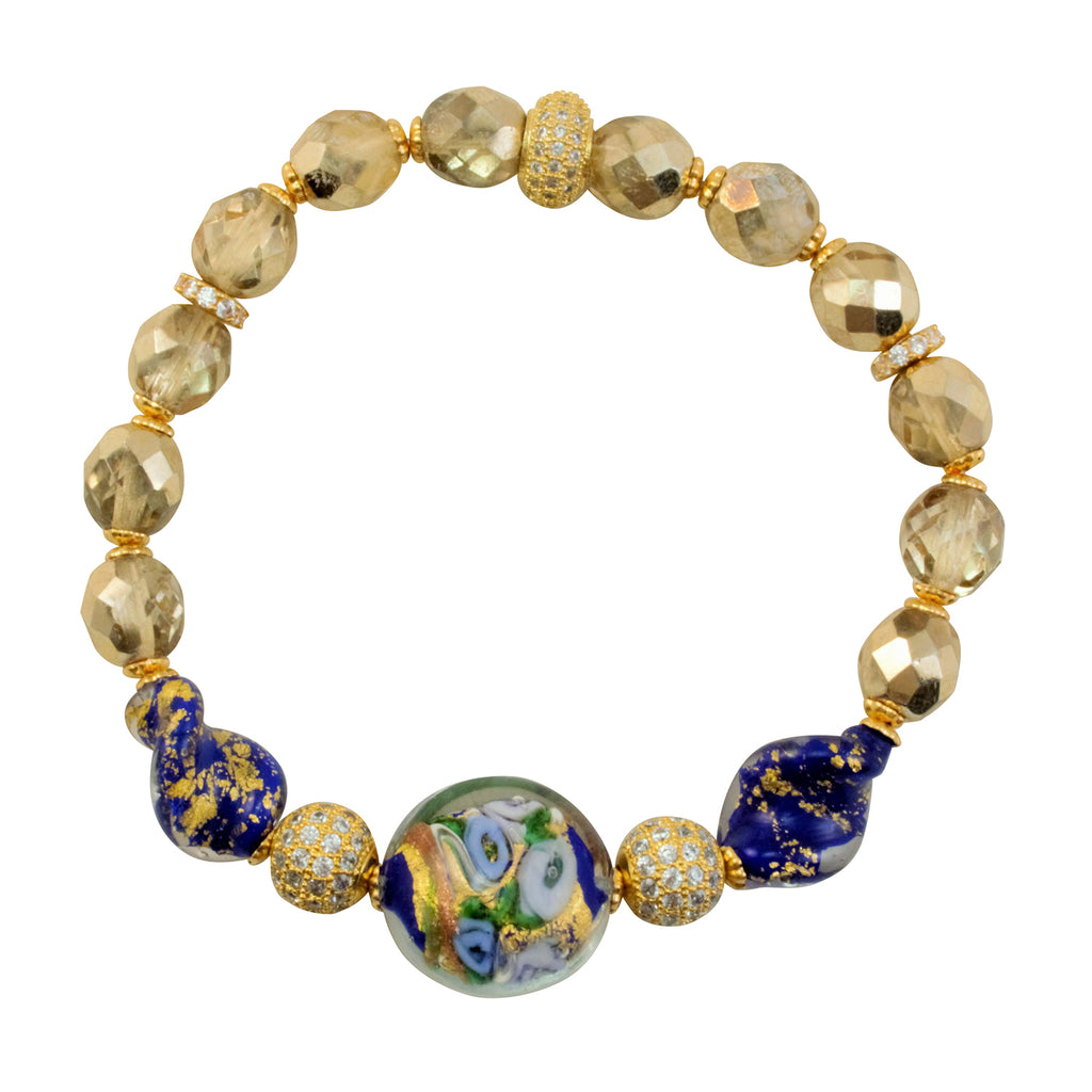 Just Give Me Jewels 18K Gold Plated Genuine Murano Blue Bed of Roses Matching Bracelet and Earrings Set