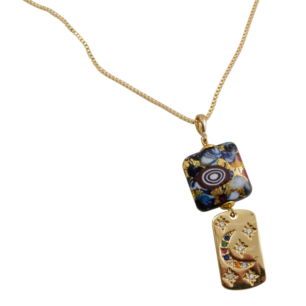 Just Give Me Jewels Gold Plated Box Chain with Genuine Murano Klimt Multi Mosaics Square Glass Bead and Moon/Stars Dogtag Necklace