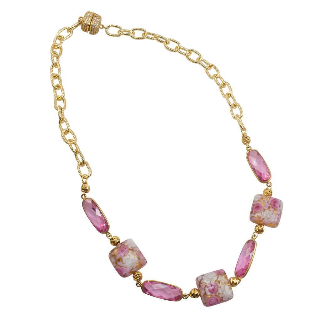 Just Give Me Jewels Gold Filled Murano Pink and White Lace Roses Murrine Beads with Pink Crystal Ovals Necklace