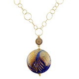 Just Give Me Jewels Gold Filled Cobalt White Filigrana Fenicio Gold Foil Disc Murano Glass Long Necklace