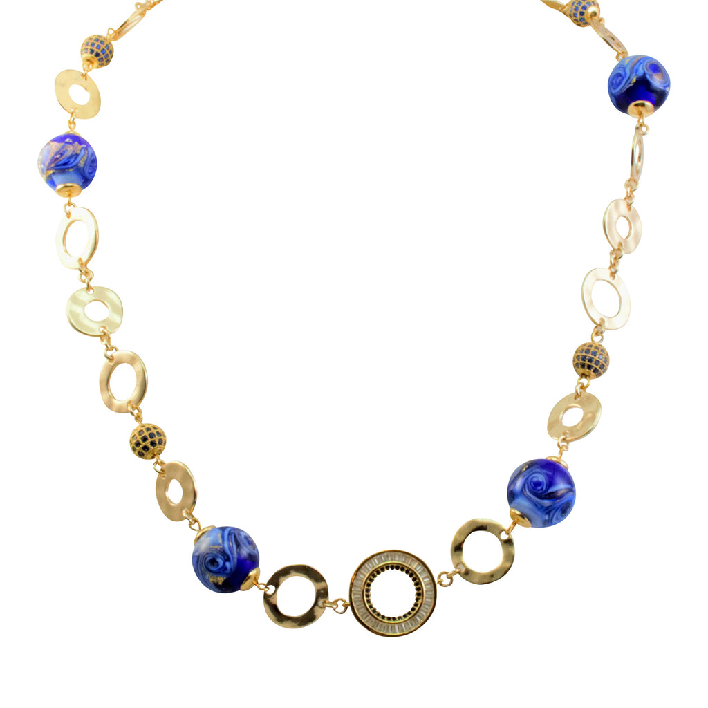 Just Give Me Jewels Gold Filled Genuine Murano Colbalt Blue and White with Aventurina and 24kt Gold Foil Mare Round Bead Circle Necklace- 20""
