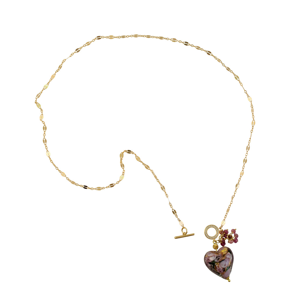 Just Give Me Jewels Genuine Murano Glass Bed of Roses Heart Cluster Toggle Clasp Pendant Necklace - Mauve