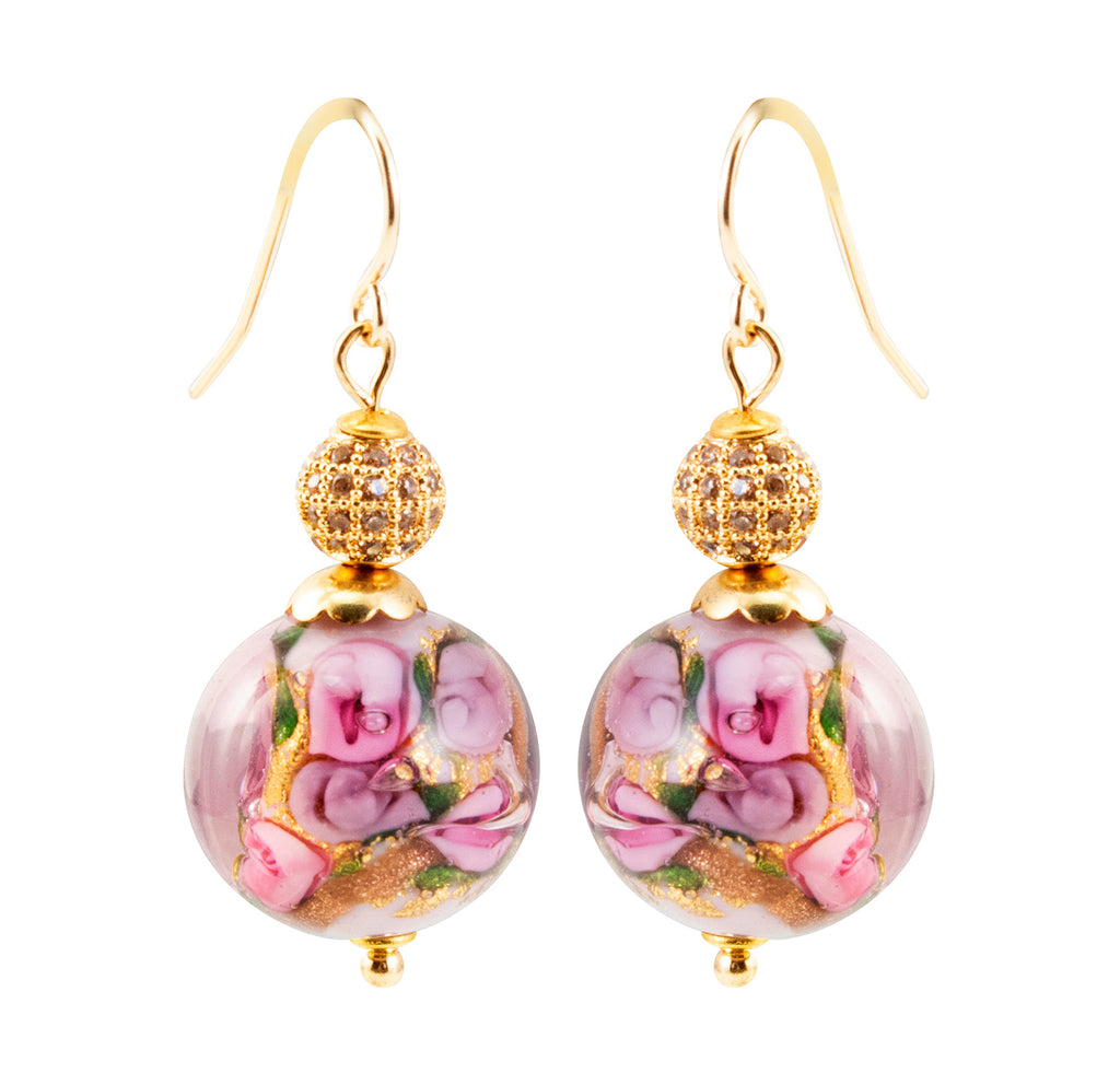 Just Give Me Jewels Genuine Murano Glass Bed of Roses Pave Crusted Earrings - Mauve