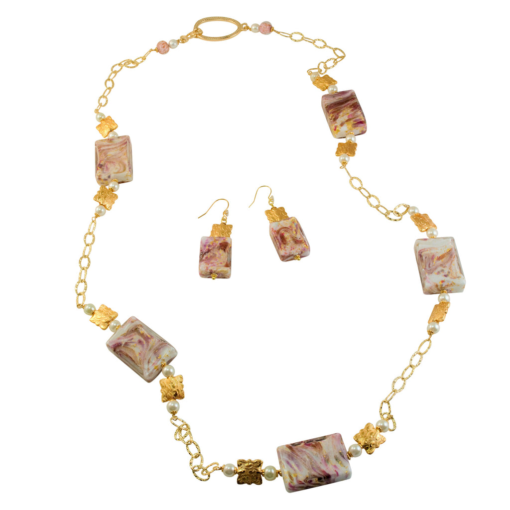 Genuine Venetian Murano Aventurina Pink Swirl Gold Foil Necklace Earrings Set