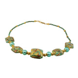 Just Give Me Jewels Genuine Venetian Murano Oro Roffo Calcedonia Teal Glass Collar Beaded Necklace - 18