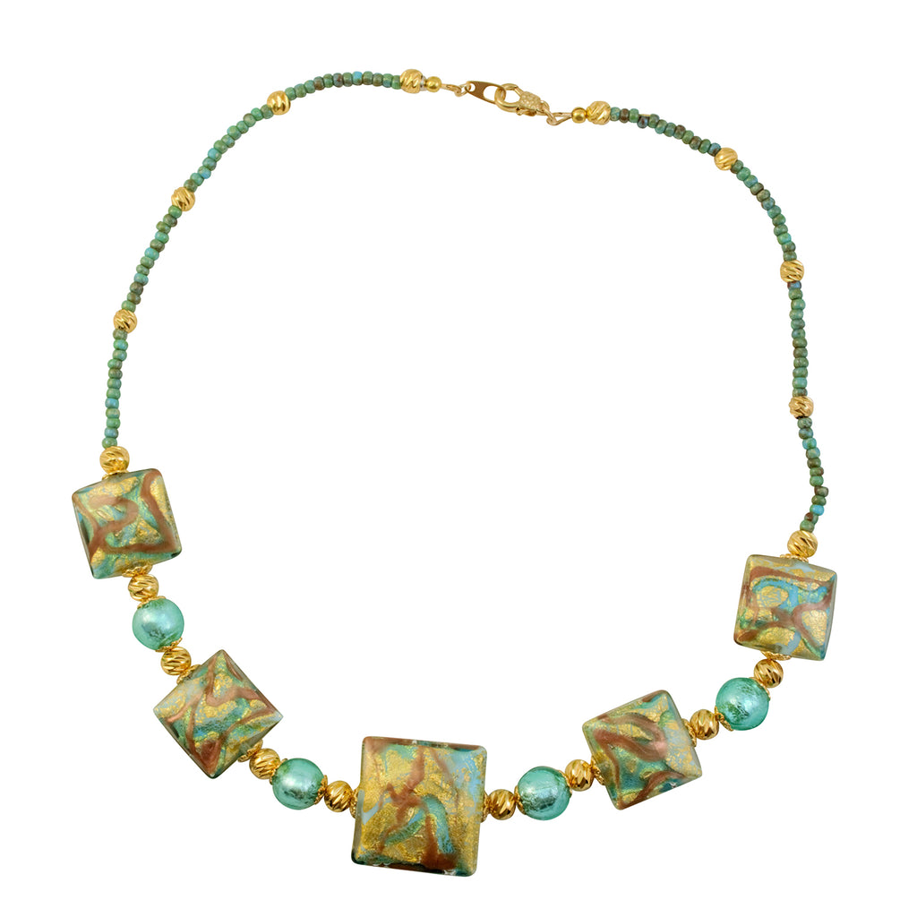Just Give Me Jewels Genuine Venetian Murano Oro Roffo Calcedonia Teal Glass Collar Beaded Necklace - 18""