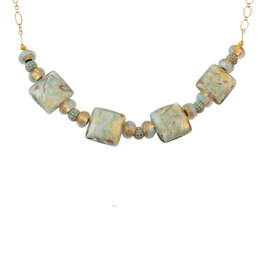 "Genuine Venice Missoni Miro Murano Beads Necklace and Matching Earrings in Aqua and Infused Gold Foil, 18+2"" Extender"