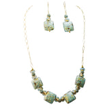 Genuine Venice Missoni Miro Murano Beads Necklace and Matching Earrings in Aqua and Infused Gold Foil, 18+2