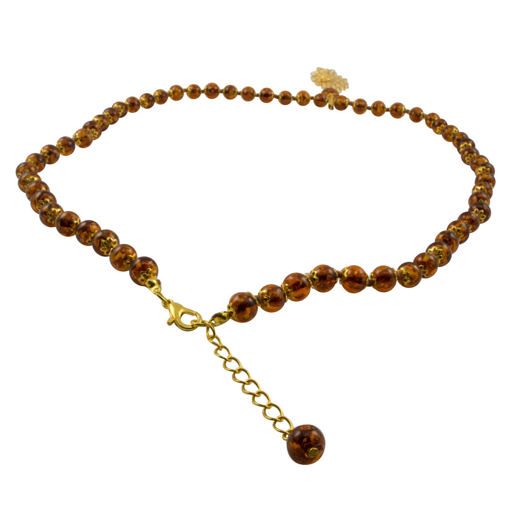 Genuine Venice Murano Sommerso Aventurina Glass Bead Long Amber Colored Necklace with Large Gold Plated Pendant and Bee Charms